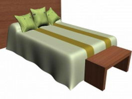 Double bed with headboard and stool 3d model