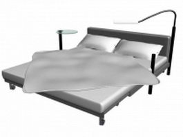 Adjustable bed with table and lamp 3d model