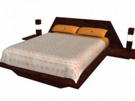 King size hotel bed 3d model