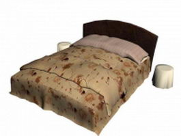 Traditional box spring bed 3d model