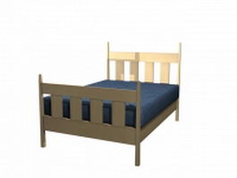Mission style single bed 3d model