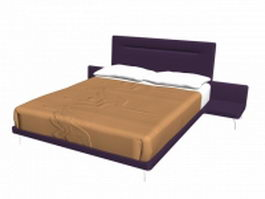 Modern platform bed with bedside table 3d model
