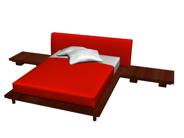 3d Double Bed Design : Modern double bed 3D model available in 3dsMax, wood bed frame include ...