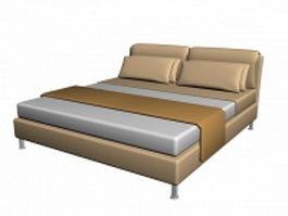 Modern queen bed 3d model