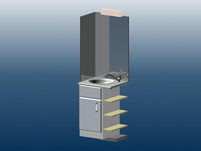 Corner bathroom vanity 3d model 3dsmax files free download for Bathroom design simulator
