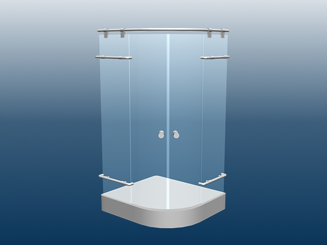 3d model of shower stall enclosure with tray available in 3dsmax use
