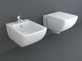 Wall mounted bidets 3d model