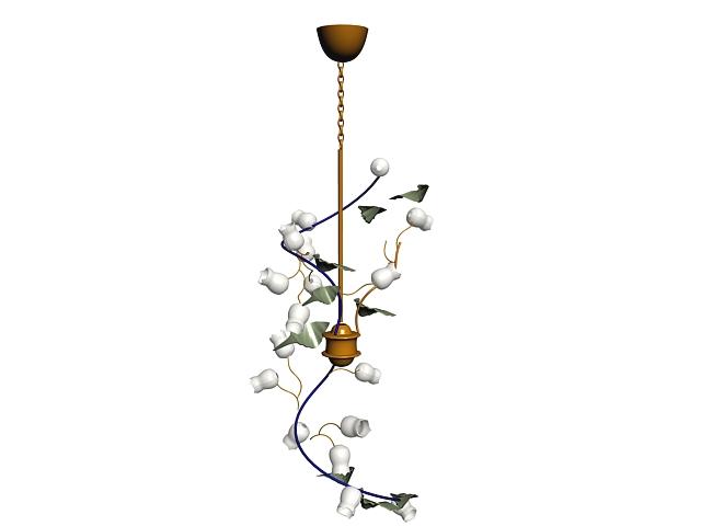 gold leaf and vine chandelier 3d model 3dsmax files free download