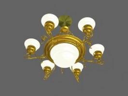 Vintage style brass chandelier 3d model