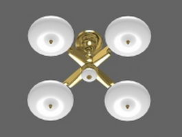 4-lights brass pendant light 3d model