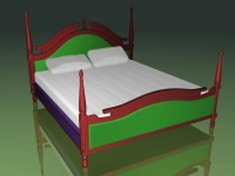 Ancient style four-poster bed 3d model