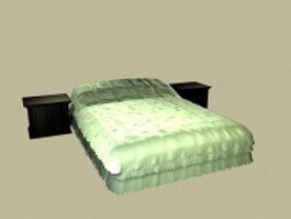 Modern mattress bed with nightstands 3d model
