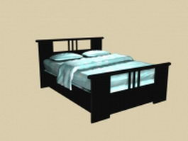 Mission style platform bed 3d model