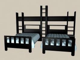 Kids room black wood twin beds 3d model