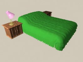 Green bed with nightstands 3d model