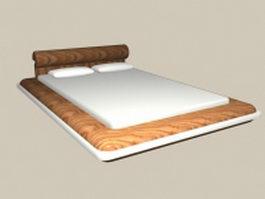 Queen size modern bed 3d model