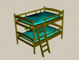 Bunk bed with ladder 3d model