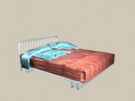 Double size iron bed 3d model