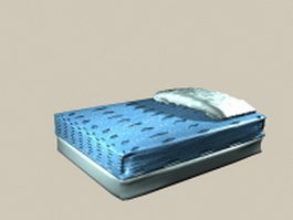 Blue mattress bed 3d model