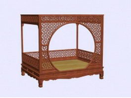 Antique Chinese bed 3d model