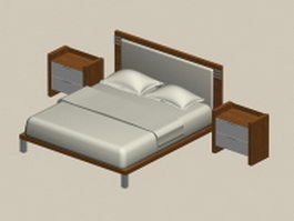 Full bed and nightstands 3d model