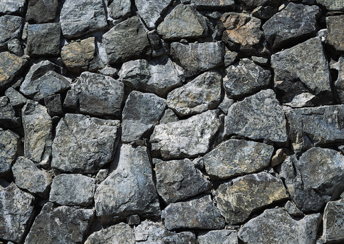 Natural Stone Texture : Natural cyan colored rubble stone wall texture image