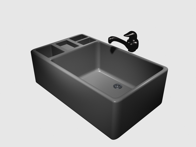3D model of kitchen basin countertop sink available in 3dsMax, single ...