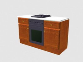 Wood kitchen cabinet with stove island 3d model