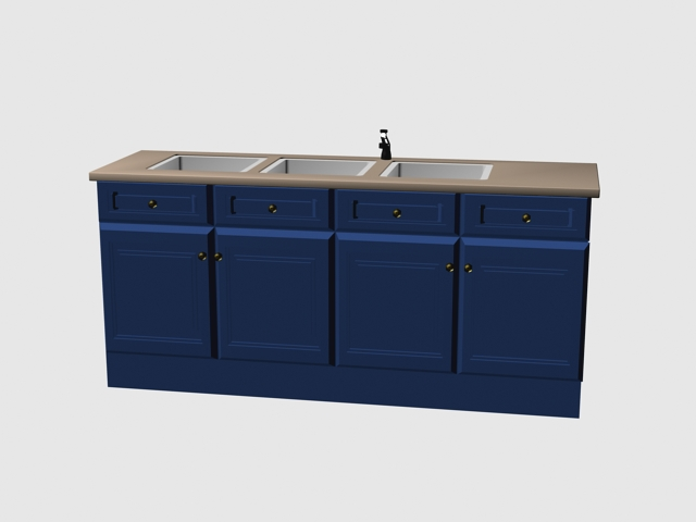 4 door sink cabinet 3d model 3dsMax files free download