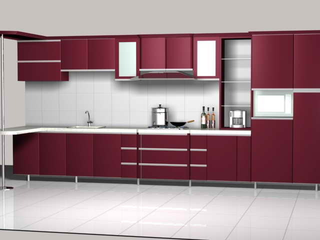 Beau Maroon Color Kitchen Unit Design 3d Model