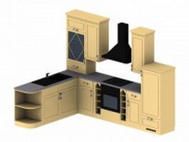 L-kitchen cabinet design 3d model