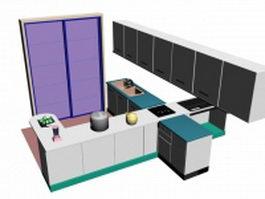 Open kitchen design 3d model