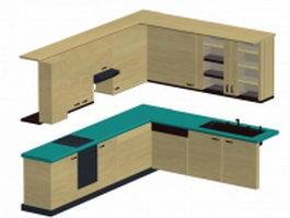 L kitchen cabinet 3d model