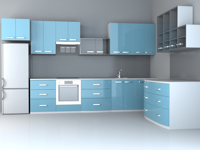 Fashion Blue Kitchen Design 3d Model