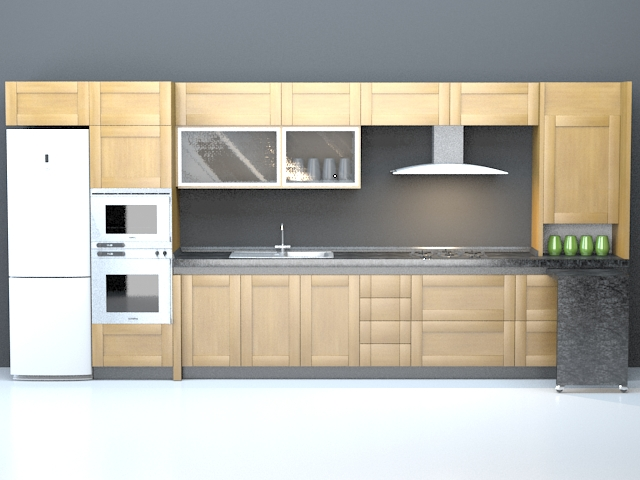 Domestic Single File Kitchen Design 3D Model