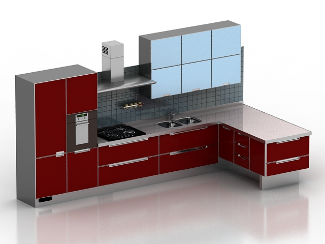 Modern red kitchen design 3d model 3dsmax 3ds files free for Software cocinas 3d