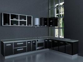 Black kitchen design 3d model