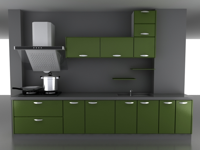 Green kitchen cabinet 3d model 3dsMax files free download ...