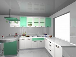 L-kitchen with bar counter 3d model
