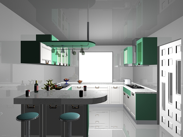 L Kitchen With Bar Counter 3d Model 3dsmax Files Free