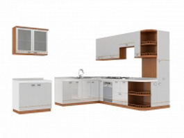 Elegant white kitchen design 3d model