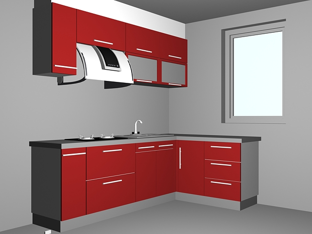 Small kitchen room ideas 3d model 3dsmax files free for Kitchen room model