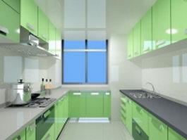 Green color double-file kitchen 3d model