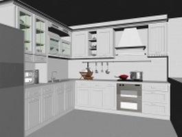 L kitchen layout design 3d model