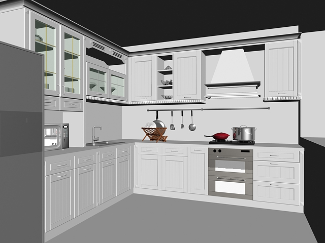 L kitchen layout design 3d model 3dsmax files free download modeling 16342 on cadnav for 3d kitchen design software free download