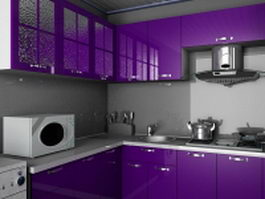 Violet kitchen design 3d model