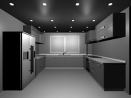 U kitchen design 3d model