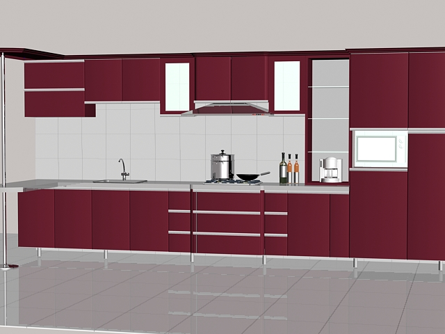 Maroon kitchen units 3d model 3dsMax files free download ...