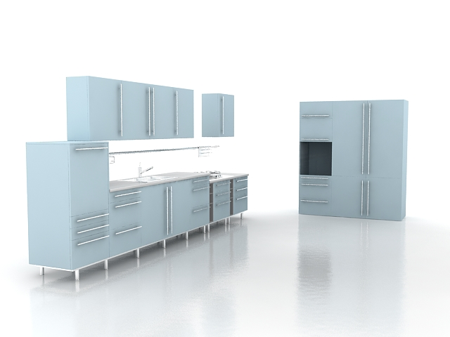 Sky blue kitchen design 3d model 3dsMax files free download  modeling