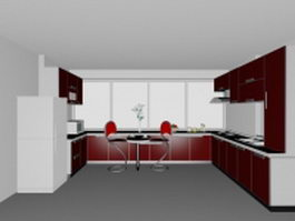 Red U-kitchen design 3d model